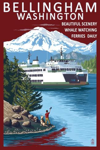 Bellingham, Washington - Ferry Scene Art Print