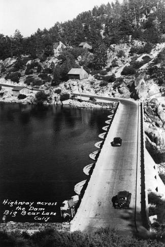 Big Bear Lake, California - View of Highway across the Dam Art Print