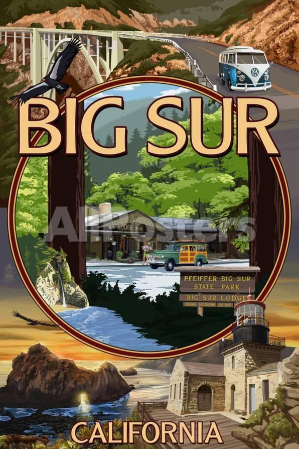 オールポスターズの ランターン プレス big sur california montage