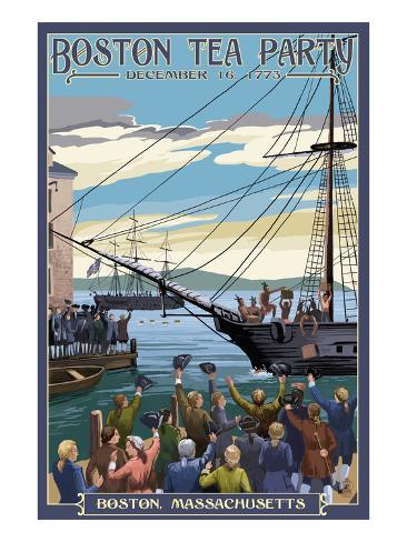 Boston, Massachusetts - Boston Tea Party Scene Art Print