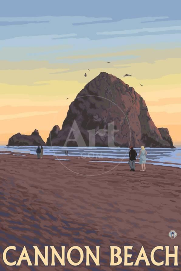 Cannon Beach Oregon Haystack Rock View Prints By Lantern Press At Allposters