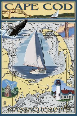 Cape Cod, Massachusetts Chart & Views Art Print