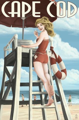 Cape Cod, Massachusetts - Llifeguard Pinup Girl Art Print
