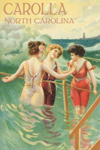 Carolla, North Carolina - Beach Scene with Three Ladies in Swim Attire in Water Art Print