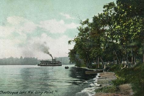 Chautauqua Lake, New York - Long Point View of Steamer Art Print