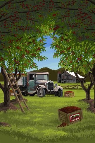 Cherry Orchard Harvest Art Print