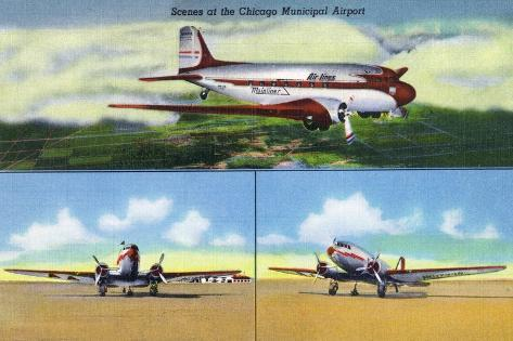 Chicago, Illinois - Aviation Scenes at Municipal Airport Art Print