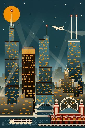 Chicago Illinois - Retro Skyline (no text) - Lantern Press Original Poster Art Print