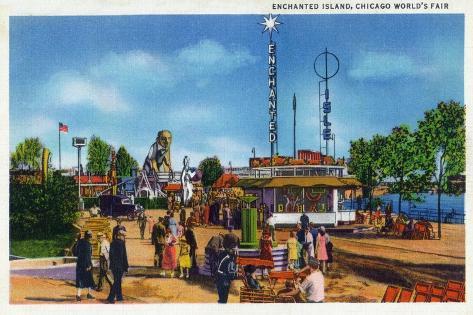 Chicago, Illinois - Worlds Fair; Enchanted Island Scene Art Print