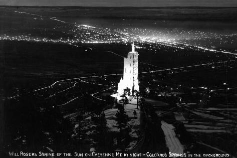 Colorado Springs, Colorado - Will Rogers Shrine of the Sun on Cheyenne Mt at Night Art Print