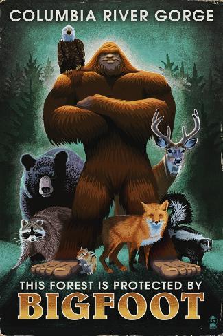 Columbia River Gorge - Respect Our Wildlife - Bigfoot Art Print