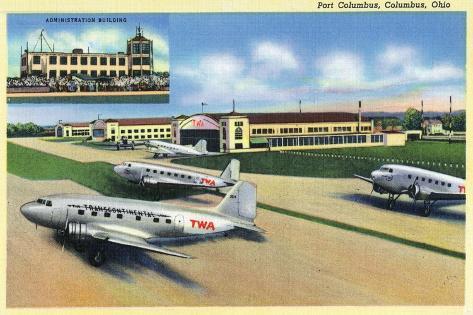 Columbus, Ohio - Landed Twa Planes at Port Columbus Art Print