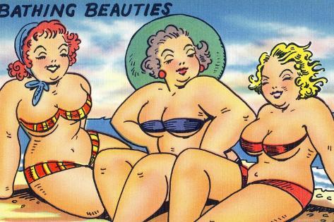 Comic Cartoon - Busty Bathing Beauties Stampa artistica
