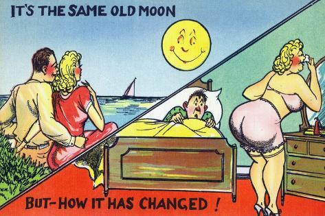 Comic Cartoon - Cute Couple; Same Old Moon, How it Has Changed Konstprint