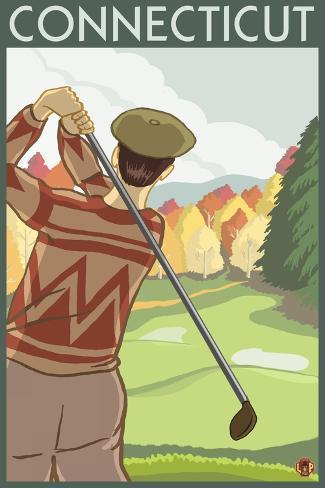 Connecticut - Golfing Scene Art Print