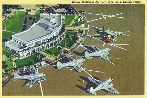 Dallas, Texas - Landed Planes on Love Field View Art Print