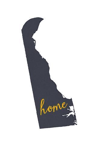 Delaware - Home State - Gray on White Art Print