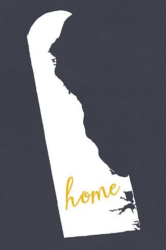 Delaware - Home State - White on Gray Art Print