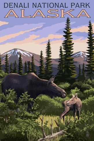 Denali National Park, Alaska - Moose and Calf Art Print