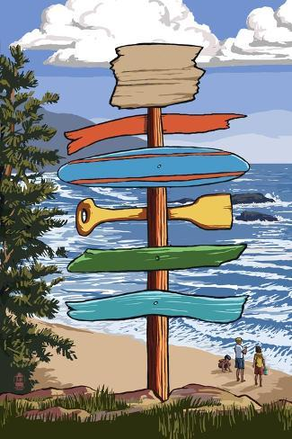 Destination Signpost (Coastal Beach Scene) Taidevedos