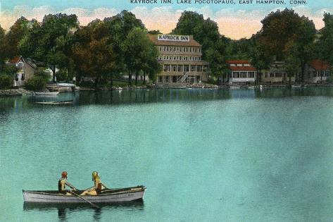 East Hampton, Connecticut, Lake Pocotopaug View of Kayrock Inn Art Print