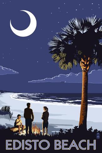 Edisto Beach, South Carolina - Palmetto Moon Art Print