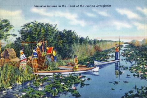 Everglades Nat'l Park, Florida - Seminole Indians in Longboats Art Print