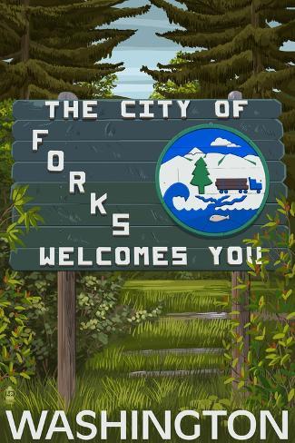 Forks, Washington - Town Welcome Sign Art Print