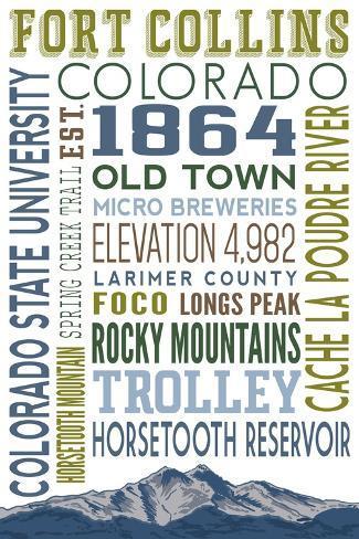 Fort Collins Colorado Typography L Mina Por Lantern Press En