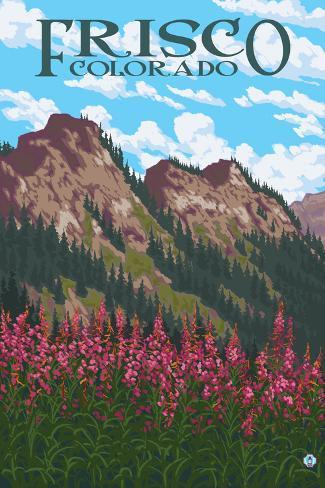 Frisco, Colorado - Fireweed and Mountains Art Print