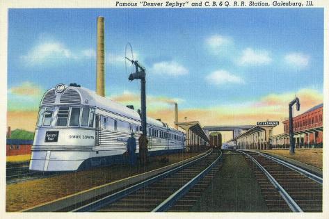 Galesburg, Illinois - Denver Zephyr Train at Station Art Print