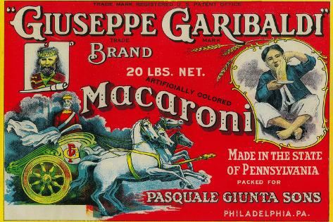 Giuseppe Garibaldi Macaroni Label - Philadelphia, PA Muovikyltit