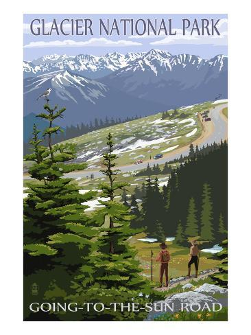 Glacier National Park - Going to the Sun Road and Hikers Art Print