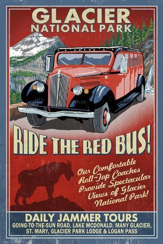 Glacier National Park - Red Jammer Art Print