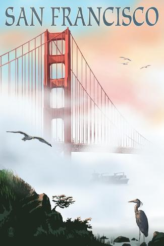Golden Gate Bridge in Fog - San Francisco, California Art Print