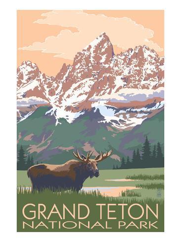 Grand Teton National Park - Moose and Mountains Art Print