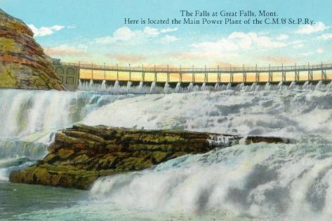 Great Falls, MT, View of Falls, Chicago-Milwaukee-Saint Paul RR Main Power Plant Art Print