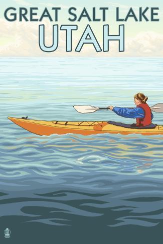 Great Salt Lake, Utah - Kayak Scene Art Print