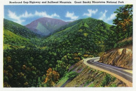 Great Smoky Mts. Nat'l Park, Tn - Newfound Gap Highway View of Bullhead Mountain, c.1941 Art Print