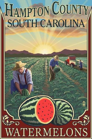 Hampton County, South Carolina - Watermelon Field Art Print