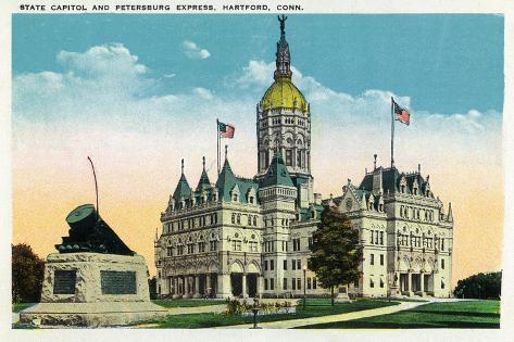 Hartford, Connecticut - Capitol Building and Petersburg Express Train Monument Art Print