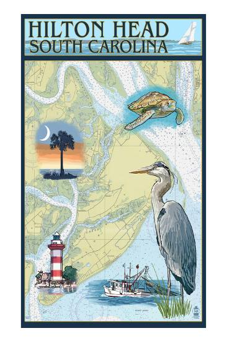 Hilton Head, South Carolina - Nautical Chart Art Print