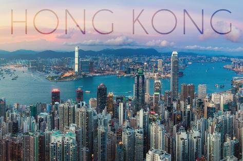 Hong Kong, China - Aerial View Premium Giclee Print