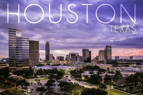 Houston, Texas - Skyline at Dusk Art Print