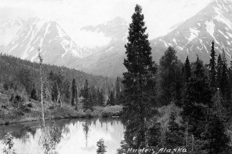 Hunter, Alaska - View of Mountains and a Lake Art Print