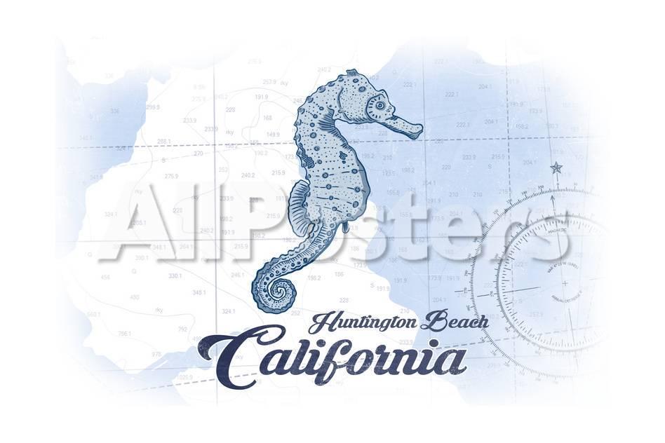 Huntington Beach, California - Seahorse - Blue - Coastal Icon