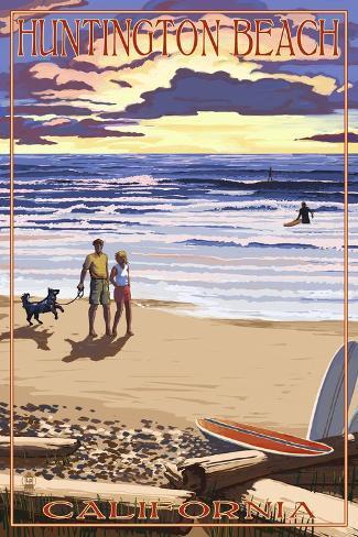 Huntington Beach, California - Sunset Beach Scene Art Print