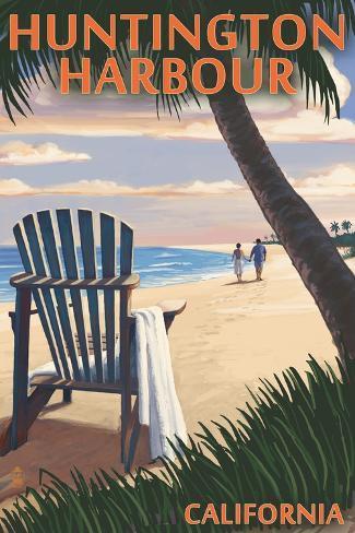 Huntington Harbour, California - Adirondack Chairs and Sunset Art Print