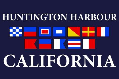 Huntington Harbour, California - Nautical Flags Art Print