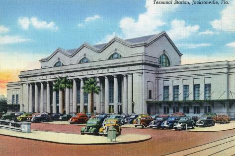 Jacksonville, Florida - Exterior View of Terminal Train Station Art Print